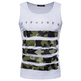 Floral tank top men online shopping - Summer New Camio Tshirts Men Sleeveless Tank Tops Camouflage Letters Casual Tees T Shirt