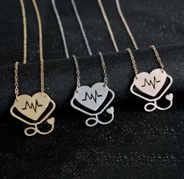 $enCountryForm.capitalKeyWord Canada - Heartbeat Stethoscope Pendant Necklace Silver Rose Gold Plated Heart Love Pendants Chains Fashion Jewelry Gif for Women Men Necklaces 20 pcs