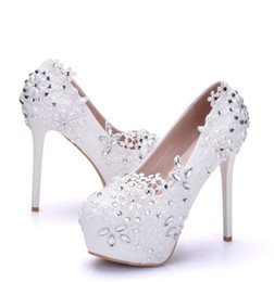 e716d0807723 4 Colors Women White Weeding Pumps Handmade Rhinestone Lace Flowers  Platform High-Heeled Pump Shoes Bride Dress High Heels Plus Size 41