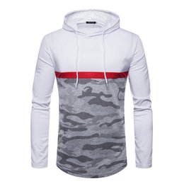 45f1b347 New Mens Long Sleeve T Shirts Cameo Panelled Hoodies Casual Slim Fit Thin  Tees for Spring Autumn M - 2XL