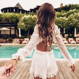 2b042ea96767 BOHO INSPIRED white backless sexy summer PLAYSUIT women Ruffled lace trims  O-neck sleeves jumpsuits rompers beach playsuits 2018