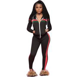 stitch golf 2019 - 2019 Sexy Women's Stitching Casual Sports Cap Two Piece Sets Tracksuit Striped Letter Print Crop Top Bodycon Long S