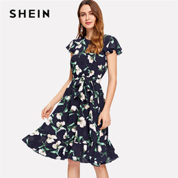 9e41134ab26 SHEIN Multicolor Vacation Boho Bohemian Beach Flutter Sleeve Self Belted  Ruffle Hem Round Neck Dress Summer Women Casual Dresses