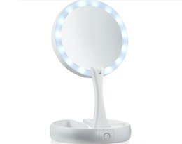 China My Fold Away LED Makeup Mirror Double-sided Rotation Folding USB Lighted Vanity Mirror Touch Screen Portable Tabletop Lamp with Retail box cheap wholesale portable makeup vanity suppliers