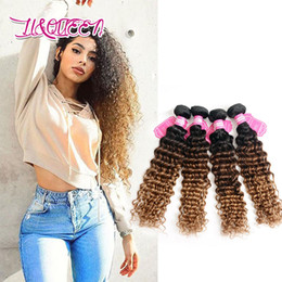 human hair bundle set Canada - Indian 1B 4 27 Ombre Human Hair Bundles Hair Weaves Deep Wave Curly 4 Pieces One Set Indian Raw Virgin Hair Porducts