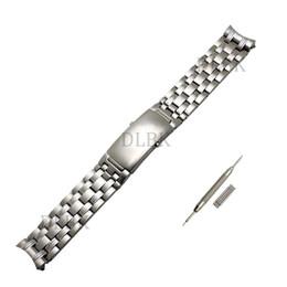 Silver pure bracelet men online shopping - Watch Accessories Men Women mm mm Sport Watch Band Pure Solid Stainless Steel Butterfly Buckle Strap Bracelet for Omega Watch tool