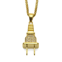 Hipster Necklaces NZ - Newest Jewelry Metal 18K Goldon Plated Plug Pendants Twist Chain Necklace Hipsters Hip Hop Jewelry Men Women Lovers Bijoux Couple Joyas good