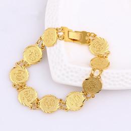 b94f2cedf4aa Pulsera de monedas para hombres Mujeres Islam Moneda árabe musulmana Signo  de dinero 18K Oro amarillo lleno de Oriente Medio