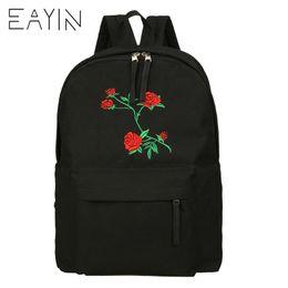 ad6d7f1983be EAYIN Rose Printing Female Backpack Retro Women Canvas Backpacks School Bags  For Teenagers Ladies Casual Cute Rucksack Bookbags