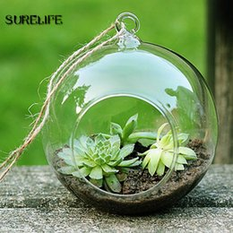 hanging glass ball candle holder NZ - Terrarium Ball Clear Hanging Glass Vase Flower Plants Container Micro Landscape DIY Wedding Candle Holder Candlestick