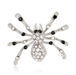 wholesale rhinestone brooches Australia - Europe Vouge Crystal Rhinestone Spider Lapel Pins Brooch Men Women Insect Brooches Retro Jewelry Clothing Accessory