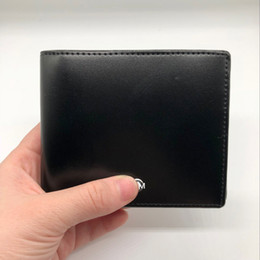 Leather business cases online shopping - Classic luxury men s purse short clip MB artisan craft brand designer card case MT business card holder quality M B hot wallets