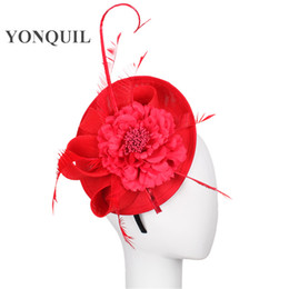 $enCountryForm.capitalKeyWord NZ - Multiple Colors Imitation Sinamay headwear Fascinator Base with ostrich quill adorned millinery party feather&flower hat wedding accessories