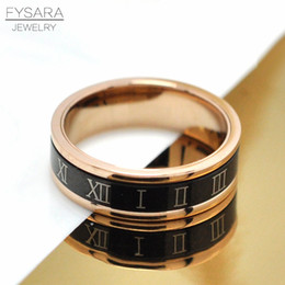 Roman Numerals Ring Wholesale Australia - whole saleFYSARA 6MM Personality Rotate Turnable Roman Numeral Rings For Women Men Jewelry Titanium Steel Thumb Biker Black Rings Gift