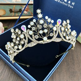 headpieces crystals tiaras NZ - Vintage Baroque Wedding Crowns Hair Flowers 2018 Crystal Rhinestone Pageant Prom Headpiece and Tiaras Bridal Flowers For Women