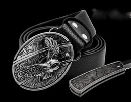 defense sport 2019 - Hot sell Fashion cool eagle head playing card cross novel scorpion 10 style belt buckles belts and hidden self-defense O