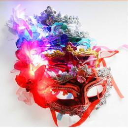 Flash Costume UK - Multicolor Lighting LED Flashing Queen Venetian Costume Masquerade Flower Masks Party
