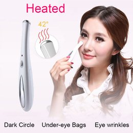 EyE bag massagEr online shopping - Ultrasonic Eye Massager Pen Fomentation Remove Dark Circles Puffiness Bags Wrinkles The Most Effective Beauty Health Device