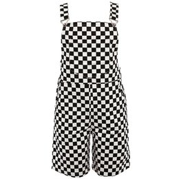 Women Jumpsuit Romper Playsuit Australia - Checkerboard Overalls Shorts Women Casual Streetwear Harajuku Romper Jumpsuit Backless Strap Checkered Black White Playsuit