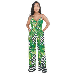 beach jumpsuits women UK - JIZHENGHOUSE Wholesale Spaghetti Strap V Neck Backless Printed Long Pants Women Summer Casual Jumpsuit Party Beach Style Rompers