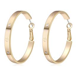 Venta al por mayor de Aro de oro plateado 4.6 cm pendientes de aro para las mujeres boda joyería de dama de honor 2018 regalo de moda