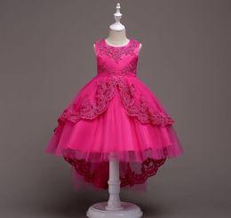 e13f1b5a2 Vestido trasero con cuentas para niñas de encaje niña de las flores vestidos  de princesa niños disfraz 3-15 años adolescente