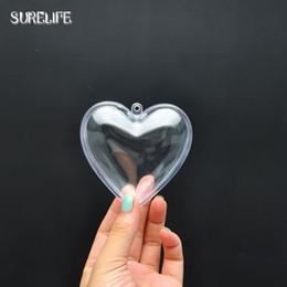 heart shaped ornament 2019 - 60pcs 6.5 8.5cm Heart Shape Plastic Ball Xmas Ball Bauble Ornament Christmas Decorations Gift Tree Xmas cheap heart shap