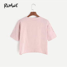 $enCountryForm.capitalKeyWord Australia - Print Pink Gesture Print Ripped Crop T-Shirt Spring Round Neck Short Sleeve Rock Tee Women Cut Out Casual Top Female