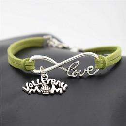$enCountryForm.capitalKeyWord Australia - Charm Infinity Love Volleyball Mom Game Team Sports Pendant Bracelet Bangles for Women Men Green Leather Suede Rope Jewelry Bijoux Wholesale