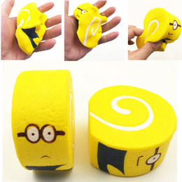 Discount minions toy wholesalers - 10cm Squishy Minions Yellow Egg Rolls Jumbo Swiss Roll Squeeze Toy Slow Rising Reduce Stress Key Ring Strap Squishies To