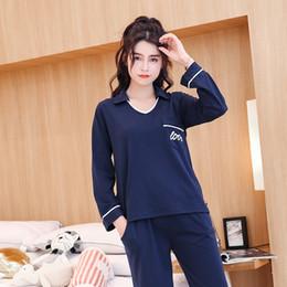 97a8f9a20c High Quality 100% Cotton Casual Pajama Sets for Women 2018 Autumn Winter  Long Sleeve V-Neck Pyjama Homewear Lounge Home Clothing