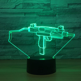 Discount machine gun cartoon - 3D Machine gun Optical Illusion Lamp Night Light DC 5V USB Powered 5th Battery Wholesale Dropshipping Free Shippin