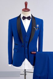 Groom Groomsmen Champagne Vest Australia - Custom men's suit three-piece suit (jacket + pants + vest) men's shawl collar single button suit wedding groom groomsmen dress