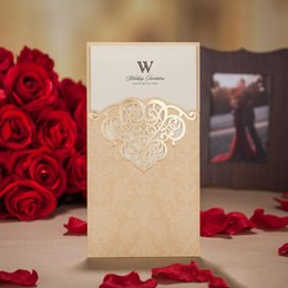 New Laser Cut Hollow Flower Wedding Invitations Cards High Quality Personalized Gold Bridal Invitation Card Free Shipping