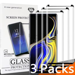 Wholesale 3 Pack For Samsung S9 S9 plus Case Friendly Tempered Glass Bubble Free Full Cover D Screen Protector Samsung Note S8 S7 With Package