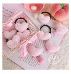 $enCountryForm.capitalKeyWord Canada - Cute kids girl pink heart shaped love figure plush Hair rope barrettes hair clip baby hair accessories