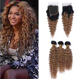 Dark blonDe hair Dye online shopping - Dark Roots Honey Blonde Ombre Brazilian Hair Bundles with Lace Closure Two Tone B Brown Blonde Ombre Curly Human Hair and Closure
