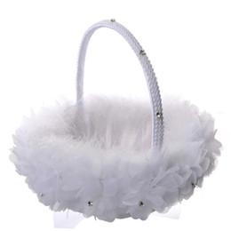 Pluma de avestruz blanca flor de la cesta de la muchacha Elegante cesta de flores de seda redonda Favores de la boda accesorio de la boda Nuevo