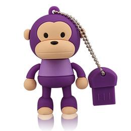 Usb Flash Design NZ - Purple Cartoon Monkey Design 8GB 16GB 32GB 64G USB Flash Drives Thumb Pen Drives USB 2.0 Memory Stick for Computer Laptop Tablet Pen Storage