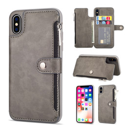 Protection Cases For Iphone 5s Australia - New zipper card mobile phone protection cover iPhoneXS MAX wallet leather phone case for iphone x xs max xr 8 7 6 6s plua 5s s9 s8