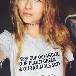 aa43bbb85 T-Shirts - Keep Our Ocean Blue Our Planet Green & Animals Safe Tshirt  Women's Fashion Clothes Tees Tops Streetwear Shirts