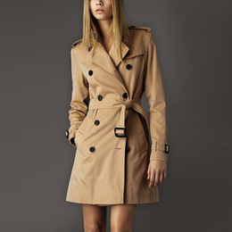 Wholesale european fashion trench coats for sale - Group buy NEW winter Fashion Classic European Trench Coat khaki Black Double Breasted Women Pea Coat high quality
