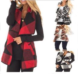 167de37f69239 Risvolto senza maniche reticolo mantello cappotto di lana autunno inverno  casual plaid donne maglia top cardigan