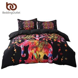 Colorful Printed Bedding NZ - Wholesale-BeddingOutlet Black Bedding Set Colorful Bohemian Print Duvet Cover and Pillowcase Indian Elephant Exotic Bedclothes Multi Sizes