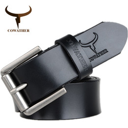 men belt brown NZ - COWATHER cow genuine leather mens belt for men 2017 high quality luxury three colors 100-130cm belt for men free shipping