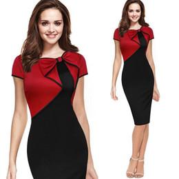d8f2a533a3 Cheap Fashion Lady Clothing Bow Pannelled Pencil Dresses Slim short sleeve  Dress S - XXL Hot sale