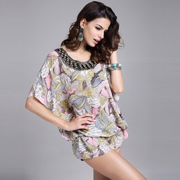Wholesale Women Bamboo Leaf Floral Print Ruffle U Neck Big Size Dress Short Sleeve Knee Length Dresses Ladies Casual A Line Dress Vestidos