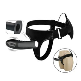 Men Sex Toy Gay NZ - 7.2 Inches Hollow Strap on Dildo Vibrator for Men Erection Aids Sex Toys for Gay Strapon Vibrating Penis Sleeve D18110904