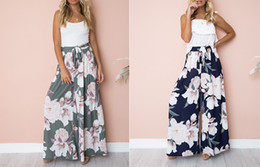$enCountryForm.capitalKeyWord Australia - Girl Floral Print Wide Leg Pants Women Long Casual Pant 2018 Summer Boho Beach Elastic High Waist Chiffon Trousers