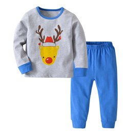 09f0e1d8f8a1 Christmas Deer Baby Toddler Girls Boy Tops Solid Pants 2Pcs Set Outfit  Clothes Suit home service Wholesale Dropshipping  A25